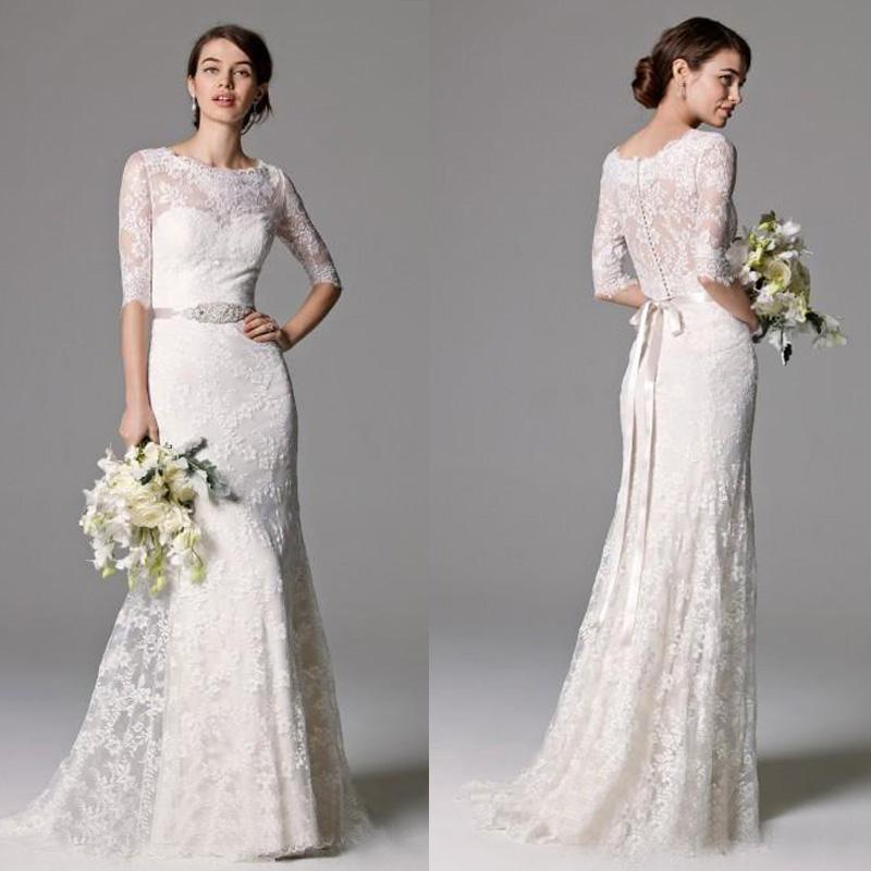 Elegante 2016 nieuwe witte full lace zeemeermin trouwjurken bescheiden juweel halve mouw met kralen sjerp bruidsjurken op maat gemaakt China EN2191