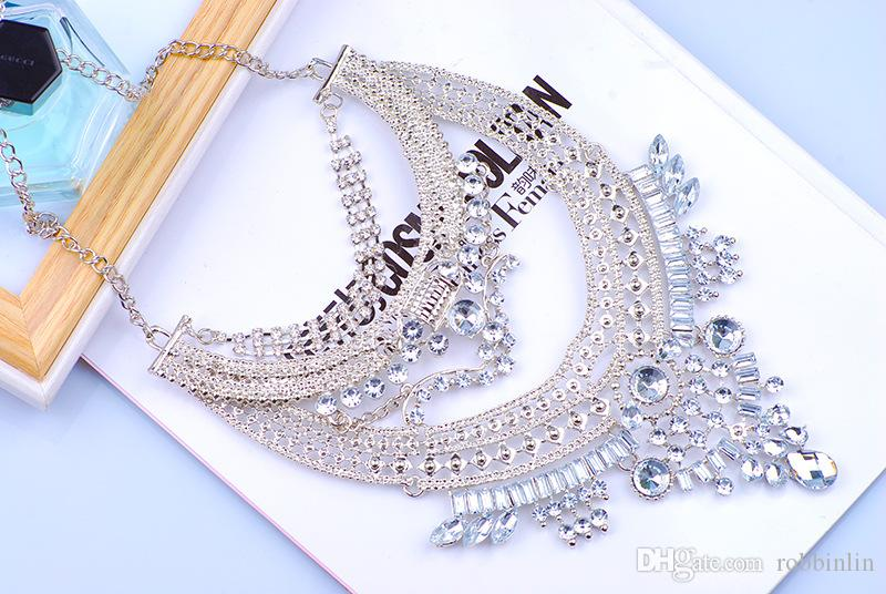 new design women gorgeous bling silver multi crystal bib statement necklace hot