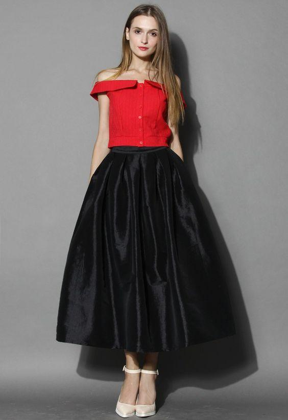 A Line Ankle Length Black Satin Skirts Puffy Spring Party Gowns Custom Made Fashion 2016 Prom Gowns