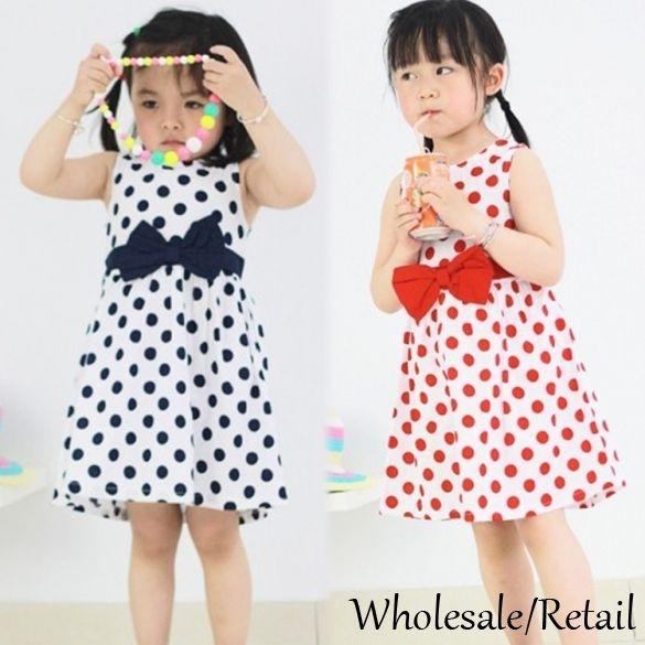 Cheap Kids Baby Girls Princess Dresses Chiffon Party Summer Polka Dots Bowknot Dress Red Blue 2015 New Stylish Dress Midi Clothing SV024292