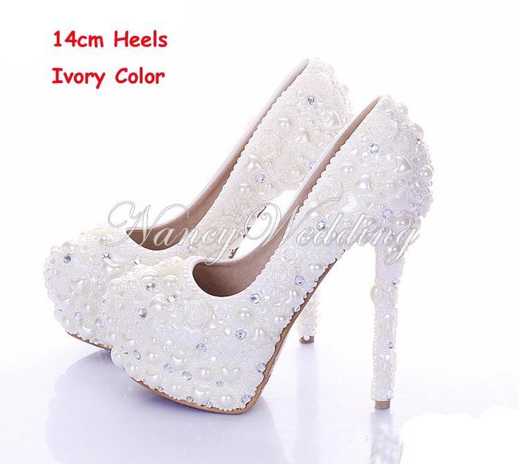 ニューダイヤモンドの結婚式の靴アイボリーカラーパールブライダルドレスシューズ美しいクリスタルハイヒールパーティープロムシューズプラットフォーム