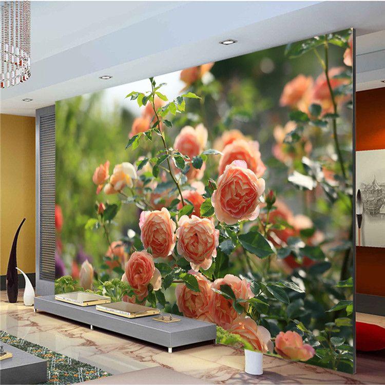 Romantic China Rose Photo Wallpaper Flowers Wall Mural Custom 3D Room Decor Art Kid