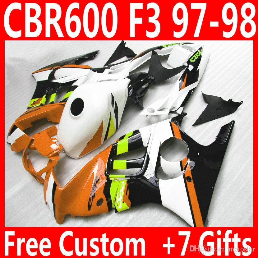 Полный подходит для HONDA F3 обтекатели CBR600 1997 1998 CBR 600 97 98 желтый белый черный обтекатель обвес QY90