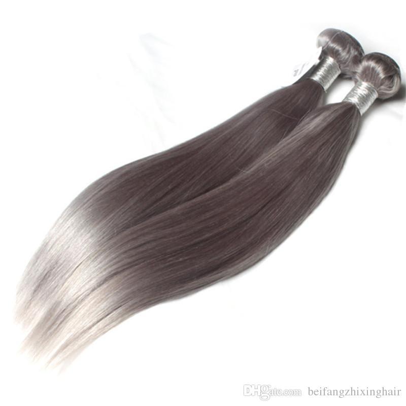 Paquetes de pelo de color gris natural brasileño Grey Pelo sedoso pelo humano un donante fácil de usar 60 g / Piecce5pcs / Lot, DHL libre