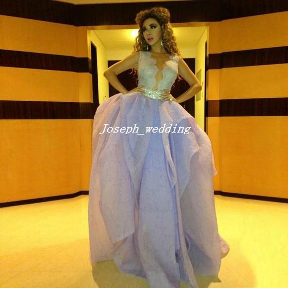 Free Shipping Arabic Design Diva Prom Myriam Fares Deep V-neck Lace Ball Gown Light Purple Ruffle Embroidered Evening Dress MX083
