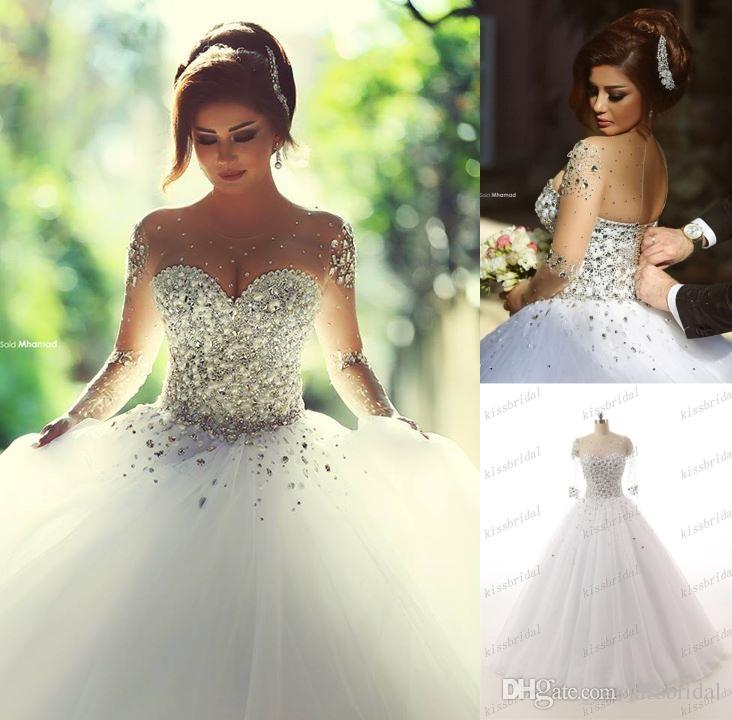 Luxurious 2016 Rhinestones Crystal Ball Gown Wedding Dresses Vintage O Neck Long Sleeves Backless Plus Size