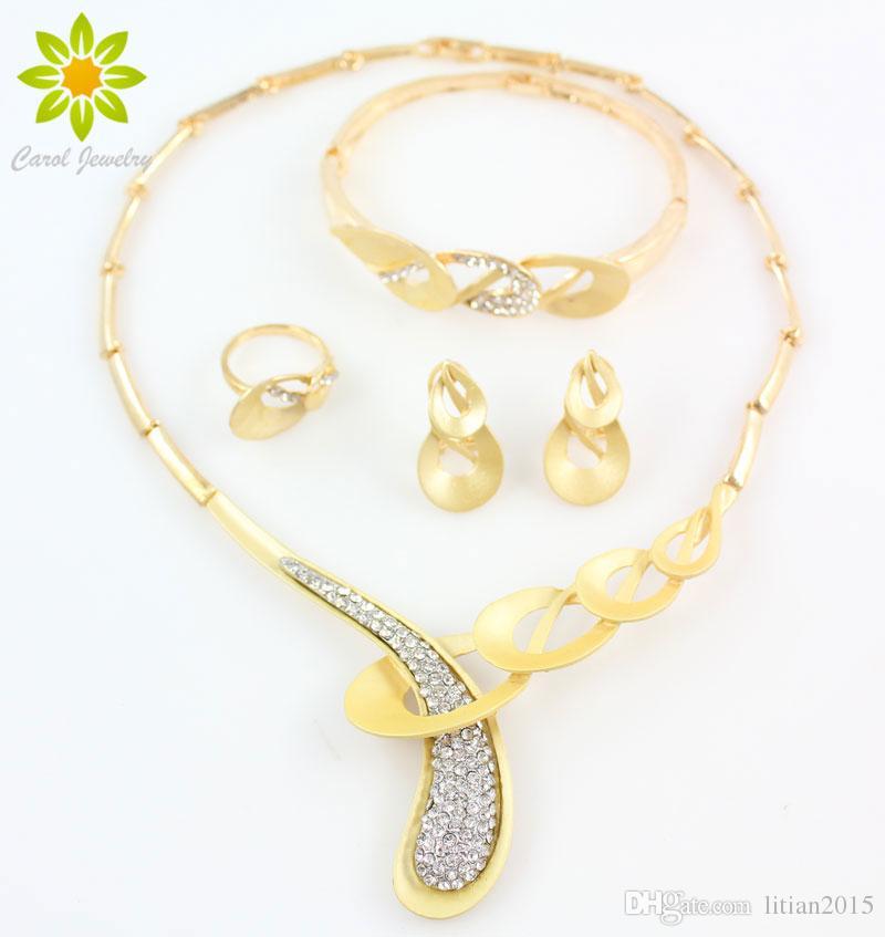 Старинные ювелирные изделия Dubai Set Costume Ювелирные Изделия Партия Ожерелье Мода 18K Позолоченные Женщины Дубай Четкие Кристаллические Ювелирные Изделия Наборы