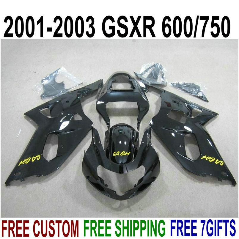 Frete grátis carenagem kit para SUZUKI GSXR600 GSXR750 2001-2003 K1 GSX-R 600/750 01 02 03 todas as carenagens de plástico preto conjunto XA79