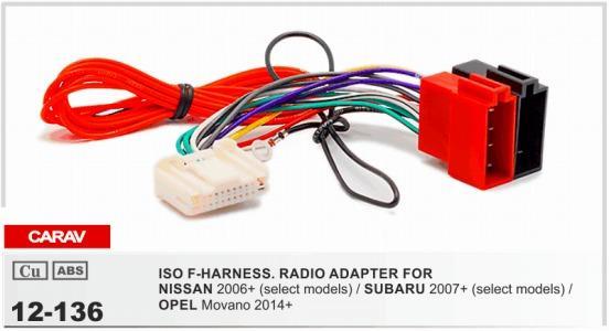 CARAV 12 136 ISO F HARNESS.RADIO ADAPTER FOR NISSAN 2007+ ... on