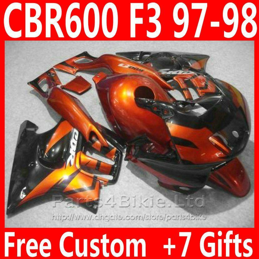 Piezas de motocicleta naranjas quemadas + 7 regalos para Honda CBR 600 F3 kit de carenado CBR600F3 1997 1998 carenados CBR600 F3 95 96 AKIV
