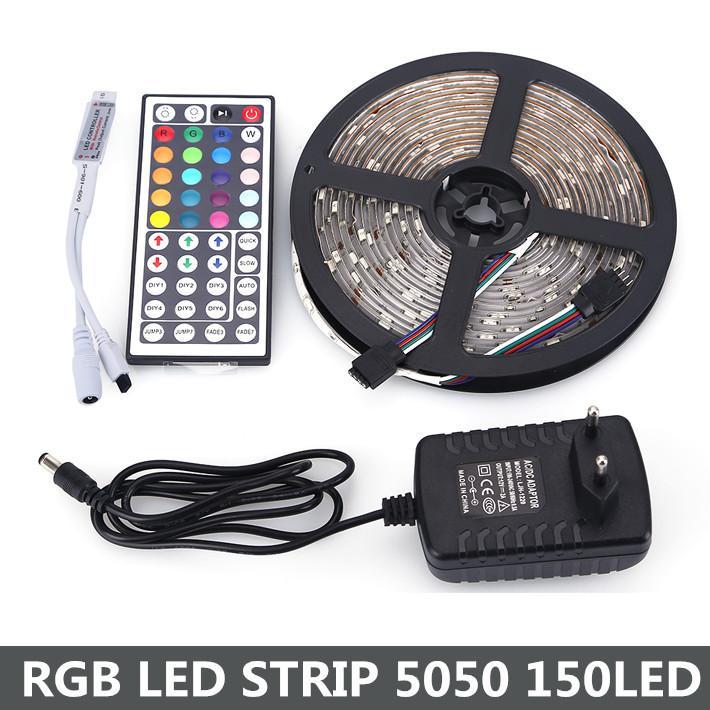 RGB LED-strip 5050 5 M 150LEDS DC12V 30LED / M FLEXIBEL LICHT LIBON LAMPEN MET 12V 36W POWER + 44 Sleutel Remote Controller