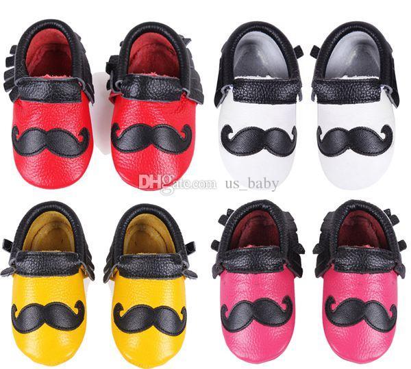 50Pairs Fedex EMS Ship Baby Beard Moccasins Fringe Tassel Boys Leather Moustache Moccs Baby Genuine Leather Walking Shoes prewalker 4Colors