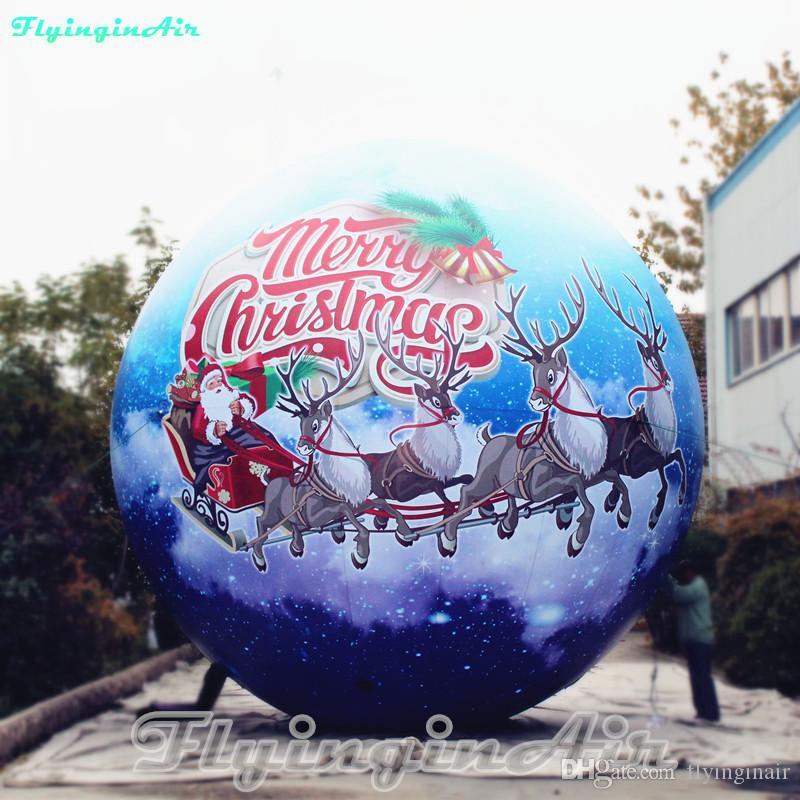 6m Custom Lighting Snowball Inflatable Christmas Ball with Santa and Reindeer
