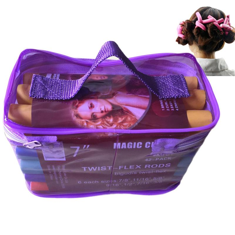At Fashion Bendy Rollers Flexi Rods 42pcs /Set 7 Styles Diy Hair Curling Rods Magic Hair Roller Soft Flex Rods For Hair
