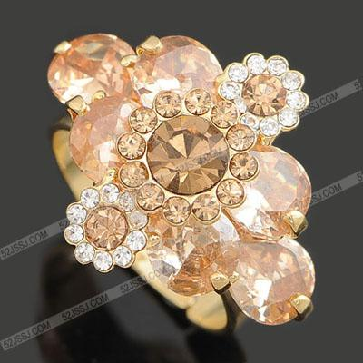 champagne color crystal flower r lady; s ring todos los tamaños (ming) ftewe