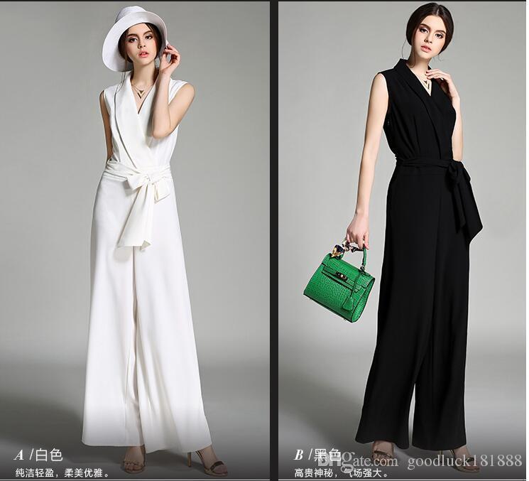 Yeni Yaz Stili Kadın Moda Dantel-up şifon Uzun Tulumlar Bayanlar Seksi V Yaka Kolsuz Harem Pantolon Kız Casual Geniş bacaklı pantolon