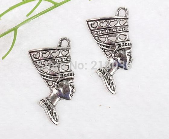 100pcs Vintage Silver Egypt Queen's Head Charms Pendant 39*19mm For Bracelets Necklaces Fashion Jewelry Making Accessories Q348