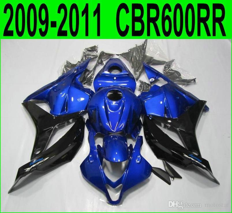 Injection molding ABS Fit for Honda CBR600RR fairing kit 2009 2010 2011 black blue fairings CBR 600RR 09 10 11 YR52