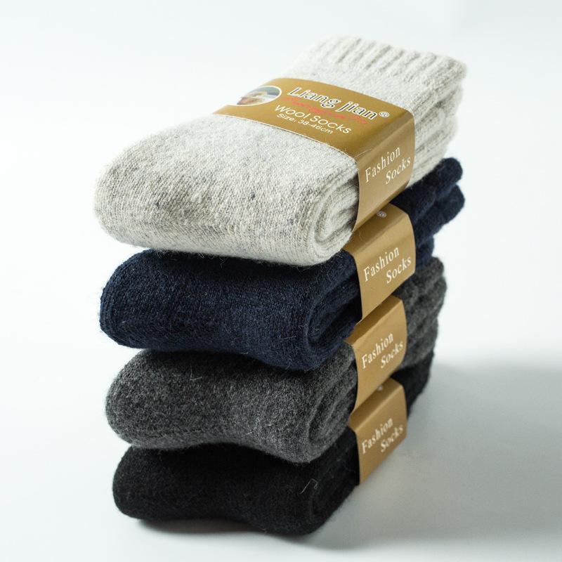 Calcetines de mezcla de lana calcetines gruesos de invierno mezcla de lana caliente de invierno calcetines ocasionales de la comodidad del lazo