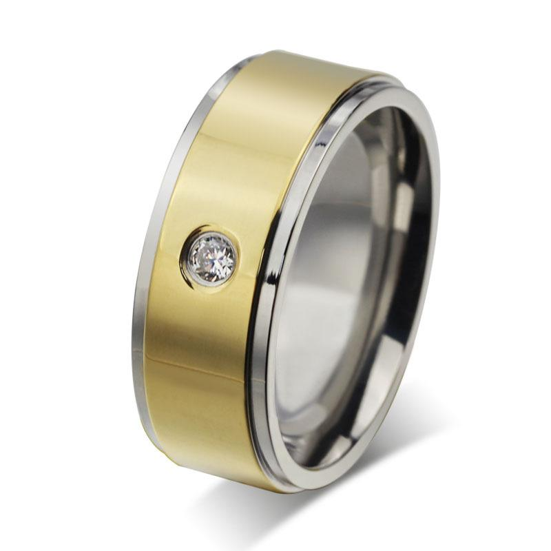 Frete grátis moda CZ anel 14 k ouro homens de aço inoxidável jóias anel de noivado eua tamanho vestido de festa de jóias