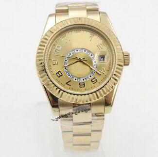 스위스 탑 브랜드 골드 18K 스카이 - 거주자 고급 남성용 스테인레스 스틸 시계 내부 링 교체 사장 남자 자동 기계식 손목 시계