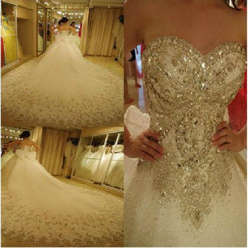 2019 Luxury Royal Wedding Dresses Cathedral Train Sweetheart Neck Blling Crystal Rhinestones Bodice Bridal Ball Gown vestidos de novia china