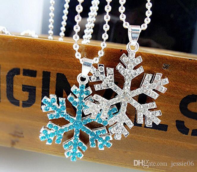 Christmas favors snowflake wisiorki naszyjnik dziewczynka kobiety kryształowy snowflake łańcuch srebrny niebieski tone naszyjniki urok cosplay rekwizyty xmas prezent