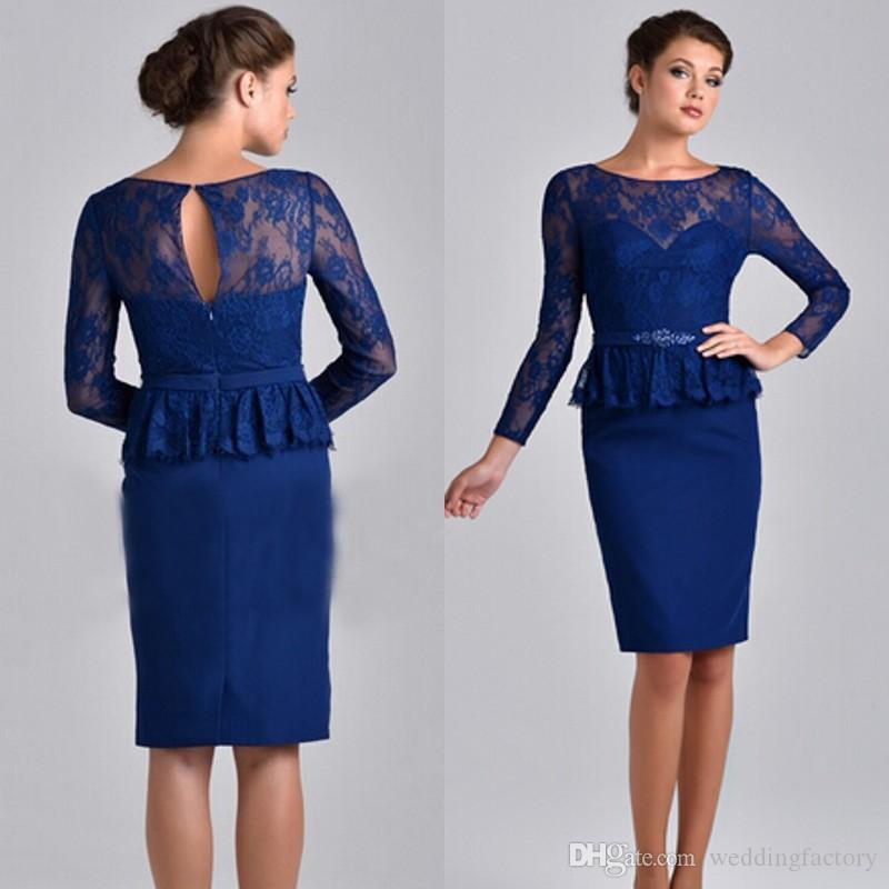 Modest Plus Size Royal Blue Dress Sheath Column Knee Length Short Mother of the Bride Dresses Illusion Neck Long Sleeves Peplum Sash Gown