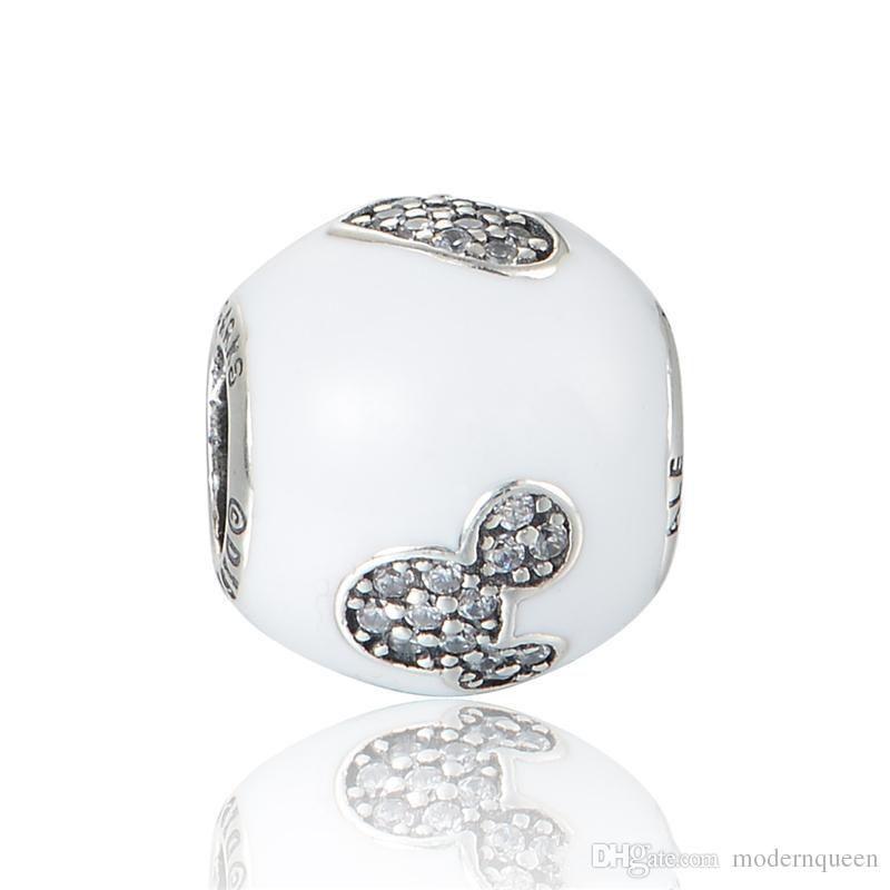 Beyaz Charms Aşk Fare Orijinal S925 Ayar Gümüş Stil Charm Bilezikler için Uyar Alech623H9