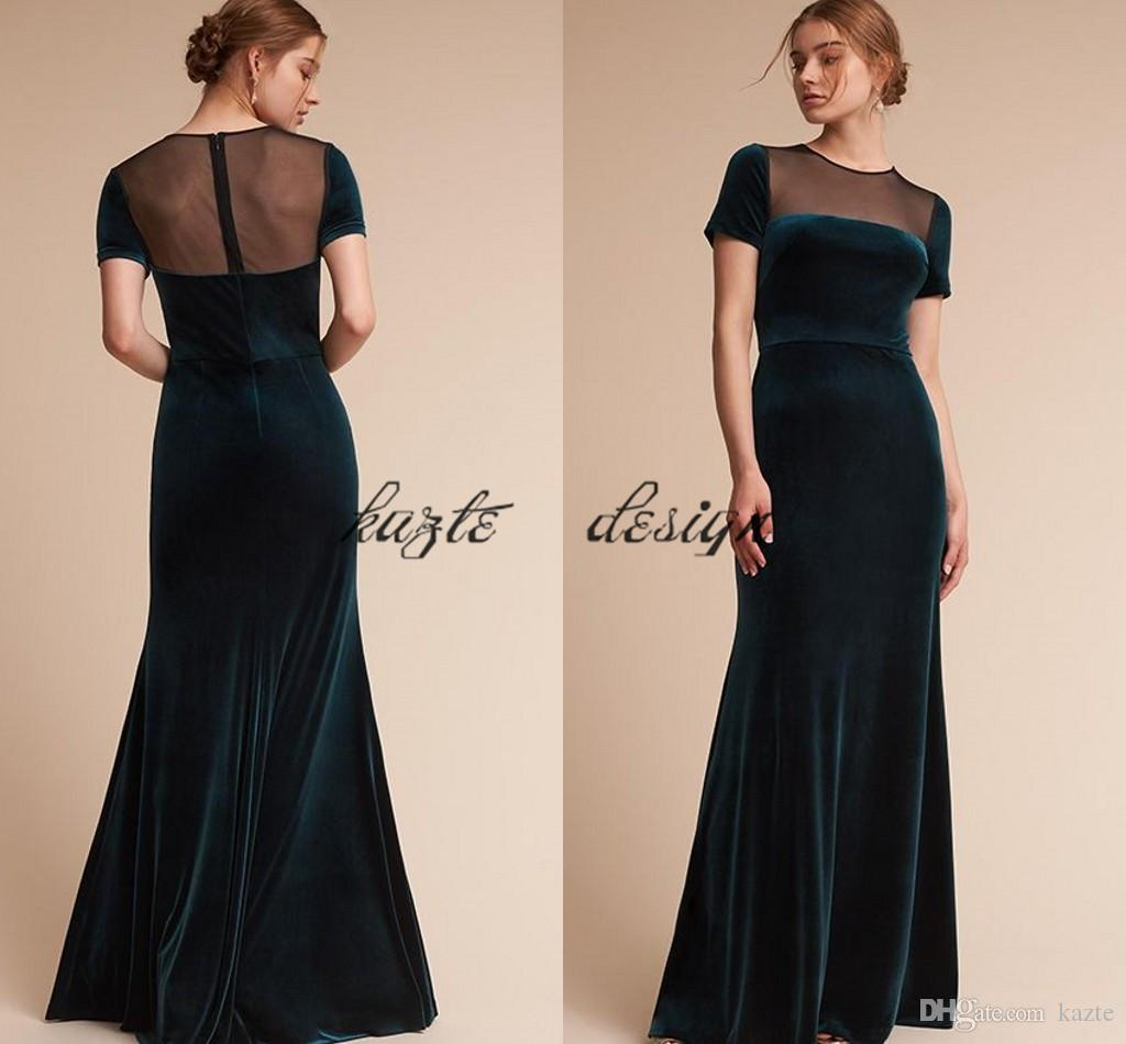 outlet sale get cheap new style Teal Hunter Green Velvet Long Bridesmaid Dresses With Sleeves 2018 Custom  Make Sheer Back Maid Of Honor Wedding Party Dress Bridal Party Dresses ...