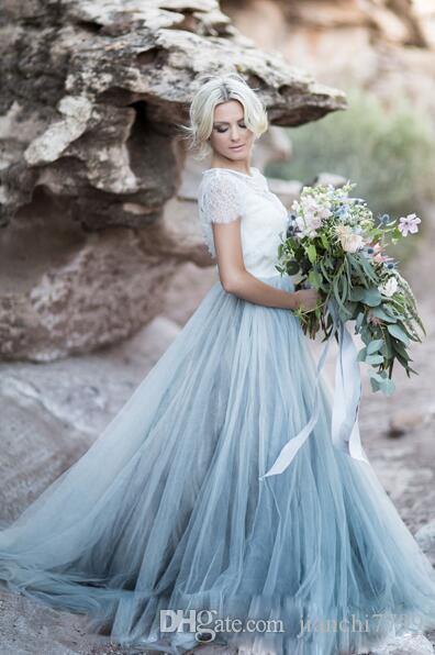 Discount Bohemian Wedding Dress With Lace Top Puffy Skirts A Line ...