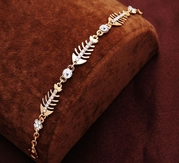 جودة عالية المرأة 18k الذهب شغلها تألق الأسماك كريستال أساور أساور النساء سوار هدية مجوهرات شحن مجاني