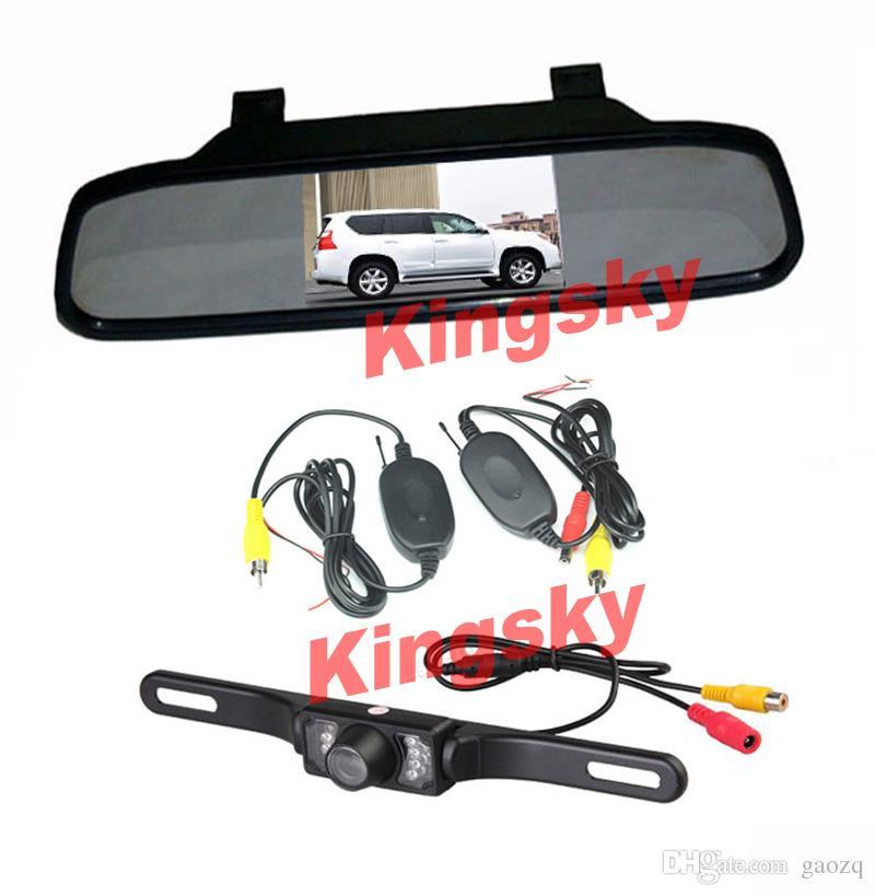 طقم الرؤية الخلفية اللاسلكية للسيارة 4.3 شاشة LCD مرآة السيارة + ماء 7IR LED للرؤية الليلية عكس كاميرا احتياطية وقوف السيارات