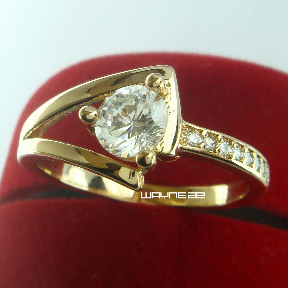 Nice Women Clear CZ 18K Позолоченное обручальное обручальное кольцо Размер Q R263