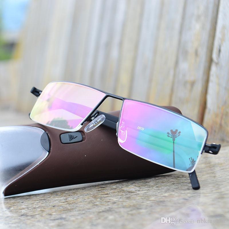 Ультра легкие TR90 компактные очки для чтения черный половина металлическая рамка смолы ясный объектив читатели очки с коробкой диоптрий + 1.0-4.0 Бесплатная доставка