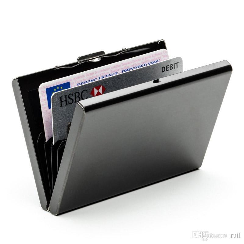 고급 QualitId 남성용 지갑 신용 카드 소지자 비즈니스 카드 스테인레스 스틸 지갑 카드 세트 현금 카드 홀더 세트