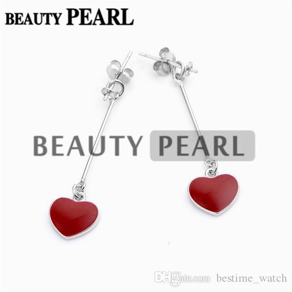 HOPEARL 쥬얼리 귀걸이 붉은 심장 드롭 925 스털링 실버 귀걸이 여자 보석 DIY 3 Pairs 만들기