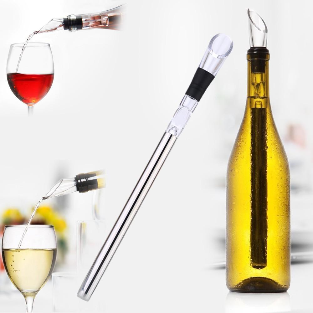 Yüksek Kalite Paslanmaz Çelik Şarap Soğutucu Chiller Pourer Kitchen Bar Şarap Aksesuarları ile Soğutma Chilling Stick Aracı