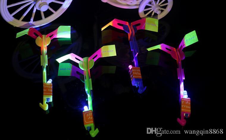 Novidade crianças led flying toys maior tamanho estilingue surpreendente seta helicóptero para fontes da festa de aniversário