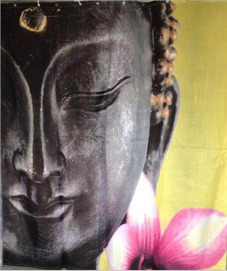 Nova marca legal Buddha Bath Cortina de Chuveiro à prova d 'água Prevenir mofo cortinas de tecido do dia das bruxas para o banheiro