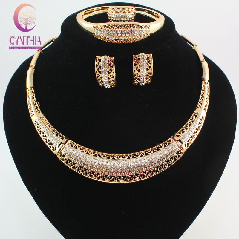 Мода женщин 18K позолоченный Кристалл Африка Дубай свадьба ожерелье браслет серьги кольцо ювелирные изделия набор