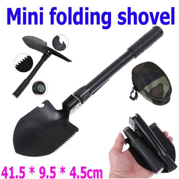 Multifunktionell vikningsstål Militär Shovel Spade för trädgård och camping med Compass Survival, gratis frakt MA7
