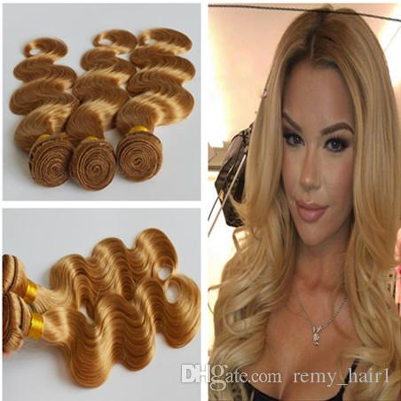 3pcs # 27 꿀 금발 브라질 인간의 머리 Wefts 바디 웨이브 헤어 번들 우대 9A 최고 품질 딸기 금발 인간의 머리카락 직물 확장