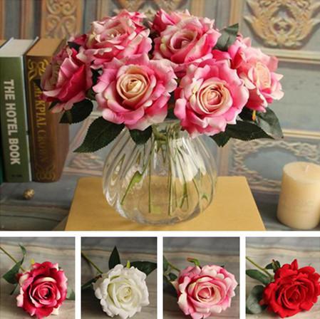 """Поддельные один стебель Роза 30 см / 11.81"""" длина 24 шт. искусственные цветы бархат розы наполовину открыт для DIY свадебный букет Главная Xmas витрина декор"""