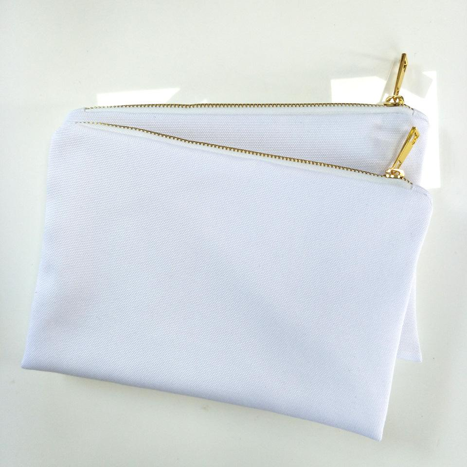 2021 12oz White 100% Poly Canvas Makeup Bag For ...