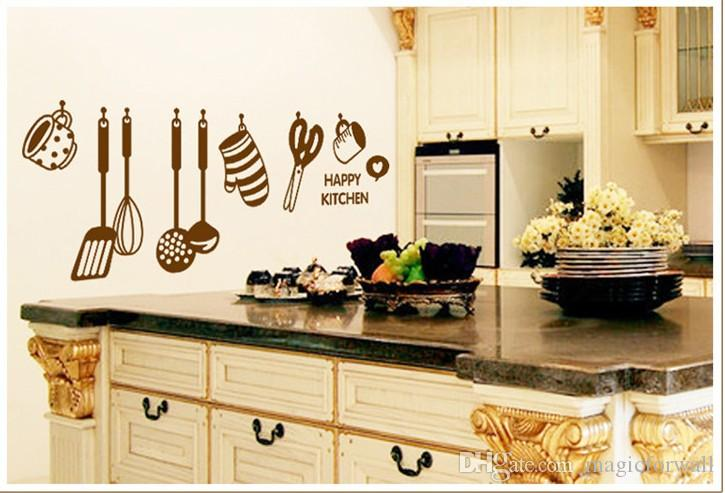 Happy Kitchen Wall Quote Art Decal Sticker Home Wallpaper Decoration Mural  Poster Decor Kitchen Room Wall Decor Sticker