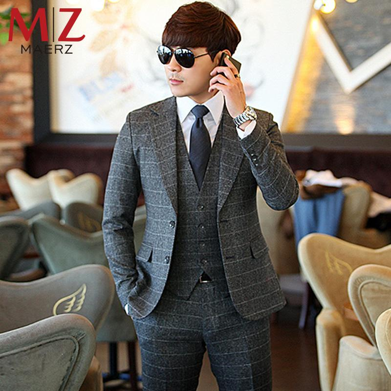 shop for official new season select for original 2019 Fashion Men'S Clothing Gray Plaid Suit Blazer + Vest + Pants Business  Suits Casual Male Slim Blazers Wedding Suit From Dhzss, $120.82 | ...