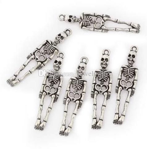 200 pçs / lote Antigo Prata esqueleto humano Liga Encantos Pingentes Para Jóias diy Fazendo achados 39x10mm