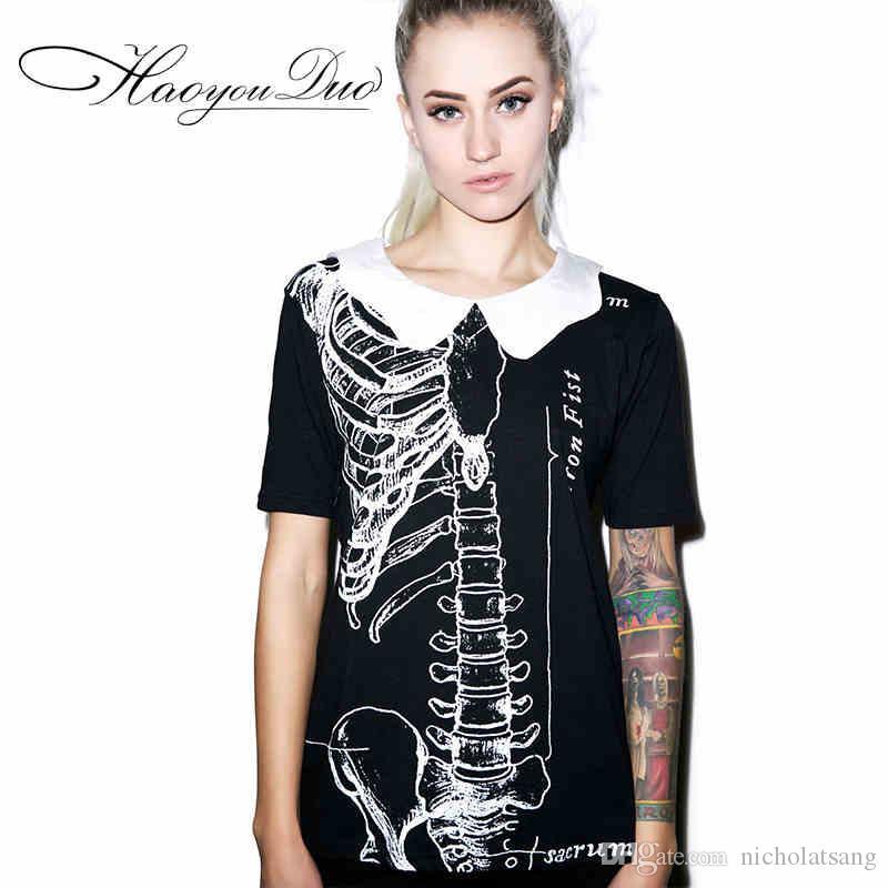 2016 년 여름 새로운 짧은 해골 해골 해골 인쇄 블랙 Tshirt 코튼 플러스 사이즈 탑 유럽 피셔 팬 인형 칼라 티셔츠