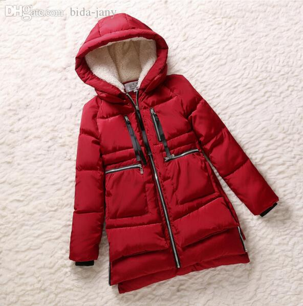 Groothandel-Nieuwe 2015 Winter Vrouwen Wadded Jacket Rode Vrouwelijke Bovenkleding Plus Size 5XL Verdikking Casual Down Cotton Wadded Coat Women Parkas